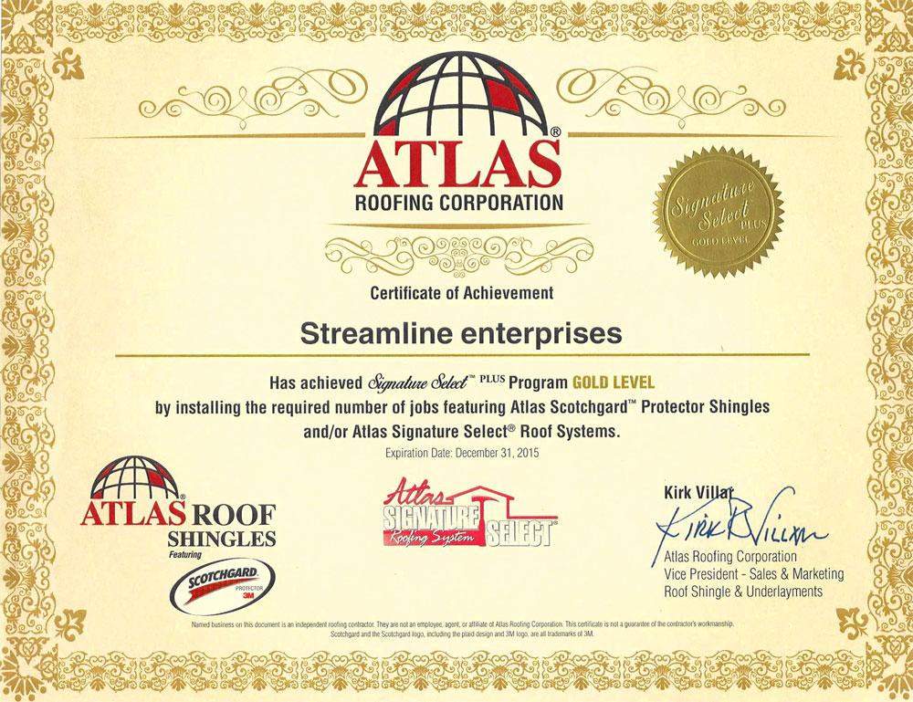 Atlas Roofing Certificate
