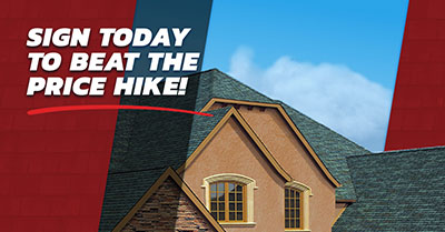 Sign to beat roofing price hike